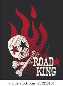 Boys Road King Gritty Skull & Flames TShirt Silkscreen