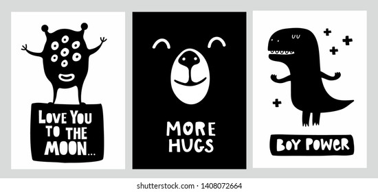 Boys room decor posters in flat scandinavian style. Vector collection of illustrations  for children.