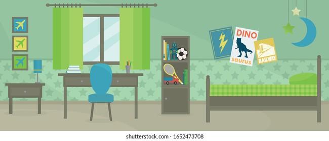 Boy's Room Interior Vector Design. Green and blue kid's bedroom furniture.