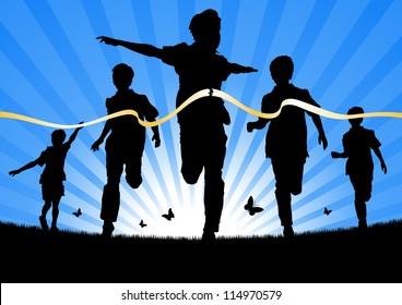 Boys Running in a race