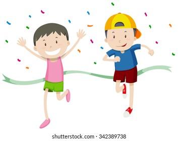 Boys running in a race illustration