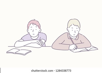 Boys sitting at the desk with a boring look. hand drawn style vector design illustrations.