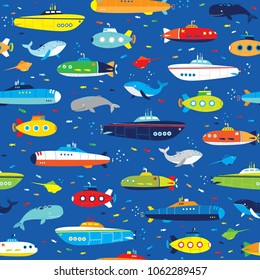 boys submarines and whales seamless pattern