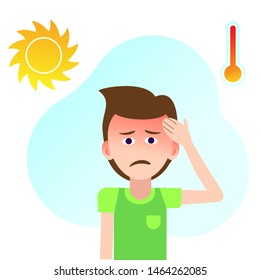 The boy's sunstroke. Hyperthermia, dizziness, headache in the kid. Taking care of children's health .Сlimate change.