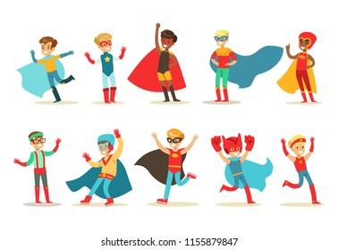 Boys in superhero costume set, cute little super kids vector Illustrations on a white background