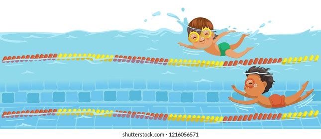 Boys swimming. Swimmers racing in the pool. Underwater view on the water of the pool. Billboard or branner design. Gaps fill your data to fill. Concept for web pages, schools,Special sports classes.