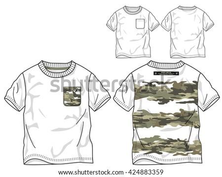 Boys T Shirt Templates Vector Camouflage Image Vectorielle De Stock