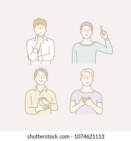 boys taking various hand gestures. hand drawn style vector doodle design illustrations.
