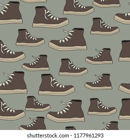 boys tennis shoes sneakers seamless vector background pattern