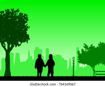 Boys together to walk in the park, one in the series of similar images silhouette