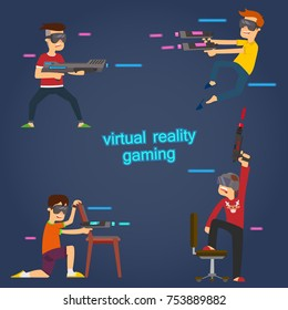 boys use virtual reality glasses to play active games. vector illustration.