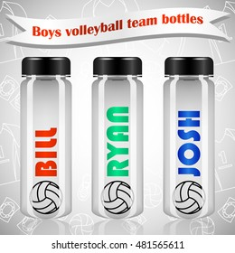 Boys volleyball team plastic bottles. Grey background with volleybal uniform line pattern. Name and volleyball ball on the bottle. Plastic bottles on realistic style. Volleyball accessories.