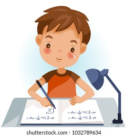 Boys are writing, kids doing homework, maths at home. Cartoon cute little boy in red shirt Siting on the desk. The concept of learning age.  Vector illustrations isolated on white background.