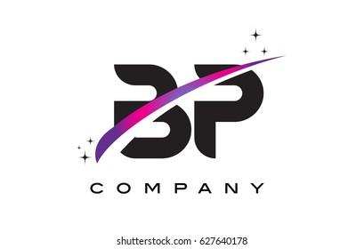 BP B P Black Letter Logo Design with Purple Magenta Swoosh and Stars.