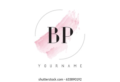 BP B P Watercolor Letter Logo Design with Circular Shape and Pastel Pink Brush.
