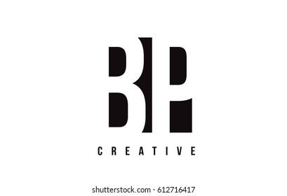 BP B P White Letter Logo Design with Black Square Vector Illustration Template.