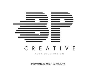 BP B P Zebra Letter Logo Design with Black and White Stripes Vector