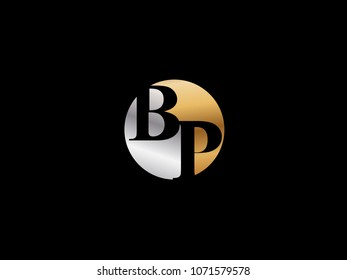 BP circle Shape Letter logo Design in silver gold color