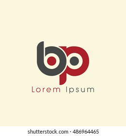 bp initial letter linked lowercase logo. b and p vector template design.