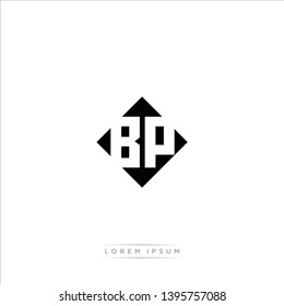 BP Logo Capital Modern of Negative Space Square Designs Template with White Background