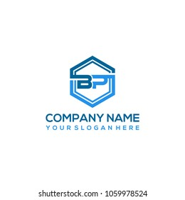 BP logo letter initial, Abstract polygonal Background Logo,