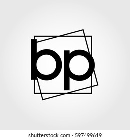 bp lowercase initials square frame business logo
