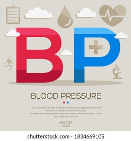 BP mean (bloodpressure) medical acronyms ,letters and icons ,Vector illustration.