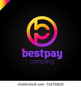 bp, pb letter rounded letter logo in circle