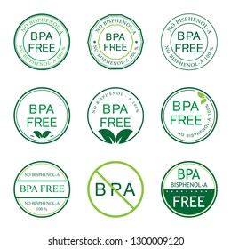 Bpa Bisphenol A. Flat vector icon for non-toxic plastic. Logo and Badge. Green color.