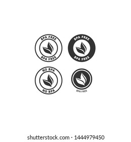 Bpa or bisphenol a free black badge label set for plastic packaging. Bpa free circle vector stamp with leaf for cosmetics or food packaging.
