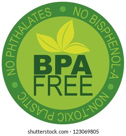 BPA Bisphenol-A and Phthalates Free Label for Non Toxic Plastic Illustration Isolated on White Background Vector