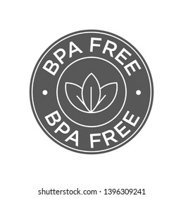 BPA free. 100% Biodegradable and compostable icon. Round green and black symbol.