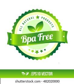 Bpa free badge label seal stamp logo text design green leaf template vector eps