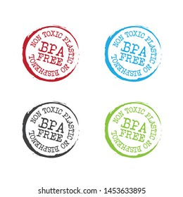 Bpa free badge, stamp, logo, icon. Flat vector illustration on white background. BPA bisphenol A and phthalates free flat badge vector icon for non toxic plastic