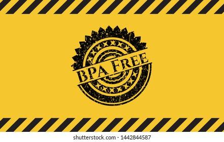 BPA Free black grunge emblem with yellow background. Vector Illustration. Detailed.