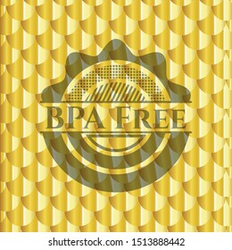 BPA Free gold shiny badge. Scales pattern. Vector Illustration. Detailed.