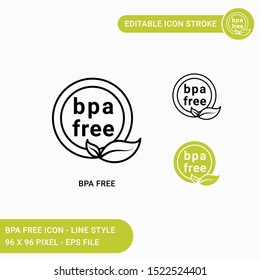 Bpa free icons set vector illustration with icon line style. Bpa non toxic plastic concept. Editable stroke icon on isolated white background for web design, user interface, and mobile application