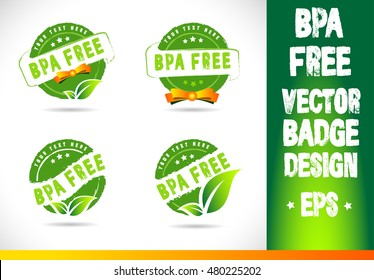 Bpa free Logo badge label seal stamp logo text design green leaf template vector eps