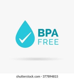 BPA free logo design. Safe non-toxic symbol. BPA free design with water drop and tick icon. Vector illustration.