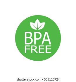 BPA free round symbol, green leaves, vector illustration