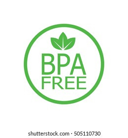 BPA free round symbol, with leaves, vector illustration