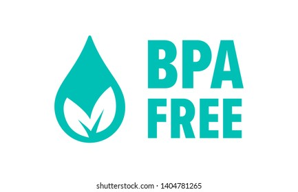 BPA free vector check mark leaf and drop icon. Safe food package stamp, healthy BPA free seal stamp