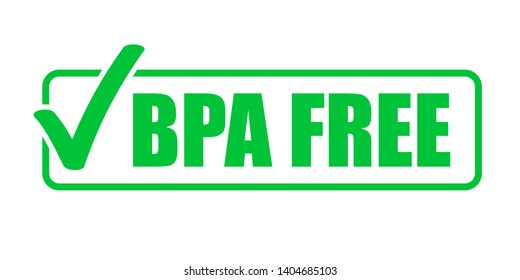 BPA free vector green check mark icon. Natural food package stamp, healthy BPA free safe seal stamp
