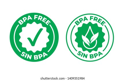 BPA free vector green check mark certified icon. Safe food package stamp, healthy sin BPA, Spanish seal stamp