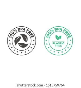 BPA free vector green check mark certified icon. Safe food package stamp, healthy sin BPA, Spanish seal stamp.