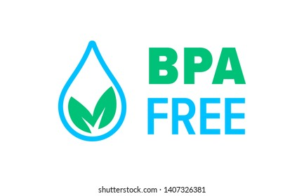 BPA free vector icon, Safe food package stamp. Healthy BPA free check mark leaf and drop seal