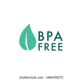 BPA free vector icon, Safe food package stamp. Healthy BPA free check mark leaf and drop seal. No toxic approved icon, environment safety concept. Bisphenol A free, healthy symbol for website, package