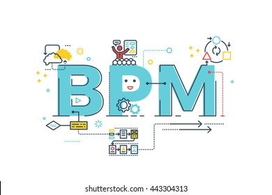 BPM : Business Process Management word lettering typography design illustration with line icons and ornaments in blue theme