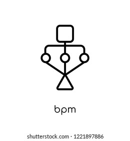 bpm icon. Trendy modern flat linear vector bpm icon on white background from thin line general collection, editable outline stroke vector illustration
