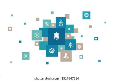 BPM Infographic 10 steps pixel design. business, process, management, organization icons
